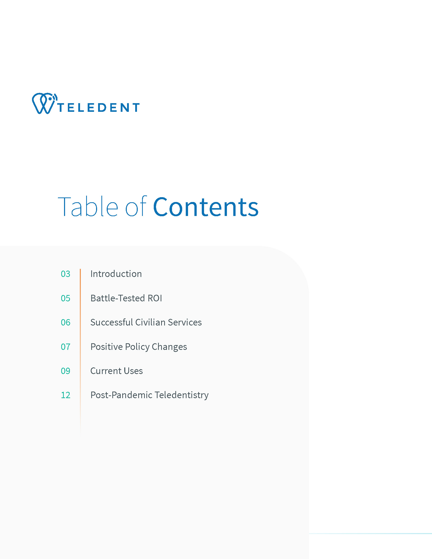 Teledentistry - A post-COVID strategy   MouthWatch Whitepaper TOC